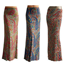 Made in USA New Women's Waist Banded Paisley Print Stretchy Poly Long Maxi Skirt
