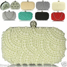 Pearl Clutch Bag Beaded Prom Party Bridal Handbag Wedding Evening Purse