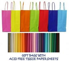 PARTY GIFT BAGS x 100 - WITH TISSUE PAPER - BIRTHDAY/WEDDINGS/CHRISTENINGS