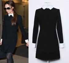 Womens Long Sleeve Black Skater Casual Block Shift Peter Pan Collar Dress 6-14