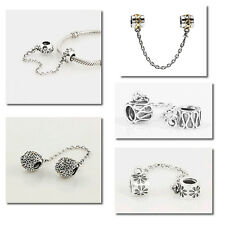 Silver Safety Chain Fit European Bead Charm Bracelet