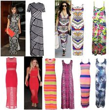 Womens Maxi Dress Tribal Aztec Floral Neon Stripe Print Toga Vest Strappy