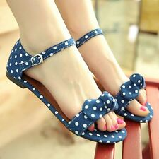 Sweet Candy Color Women's Shoes Open Toe Bowknot Butterfly Knot Sandal Shoes