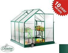 Lacewing 6ft x 6ft Green Aluminum Frame Walk In Garden Greenhouse / Growhouse