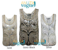 NEW WOMENS LACE VEST EMBROIDERY SEQUIN BEADS SLEEVELESS GOLDEN SILVER BLACK TOP