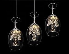 Modern Crystal Wine Glasses Chandelier Ceiling Light Pendant Lamp LED Lighting