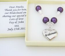 Purple Pearl chain necklace,boxed ,Bridesmaid,Flower girl,Mother,Wedding gift,