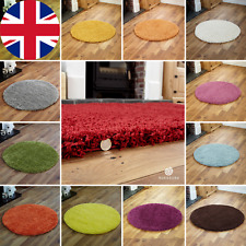 NEW LARGE MEDIUM 5CM HIGH PILE THICK DENSE SOFT NON SHEDDING CIRCLE ROUND RUGS