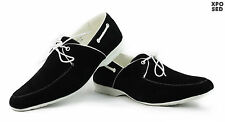 Mens Faux Suede Leather Black Tan Formal Casual White Lace Ups Party Shoes