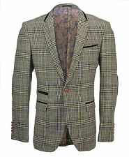 Mens Tweed Brown Checked Designer Vintage Elbow Patch Suit Jacket Fitted Blazer