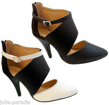 LADIES HIGH HEEL DEMI SUEDE POINT TOE ANKLE STRAP BUCKLE MONO SHOES WOMENS PARTY