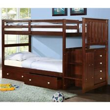 Twin over Full Mission Stairway Bunk Bed--Cappuccino