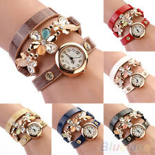 Women's Chic Classic Rhinestone Quartz Analog Flower Decor Bracelet Wrist Watch