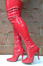 Red Thigh High Sexy Mens Crossdresser Drag Queen Costume Boots size 13 14 15 16