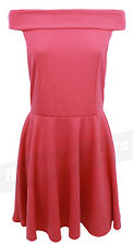 Womens Coral Peach Off The Shoulder Skater Dress A Line Franki Retro Flared