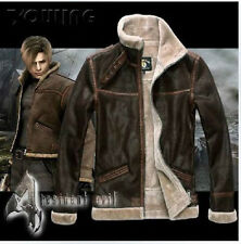 &&&& RE4 RESIDENT EVIL 4 LEON KENNEDY'S PU Faux LEATHER FUR JACKET &&&&