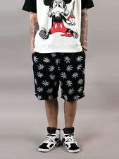 New Mens Hip Hop Shorts Weed Marijuana Leaf Cannabis Ganja Black Big Size M-5XL