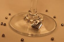 A17T Ivory Top Table Heart Wedding Wine Glass Charms / Favours / Decorations