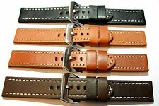 Smooth Leather Watch Strap. Contrast stitch. Black, tan and brown. 20, 22, 24mm