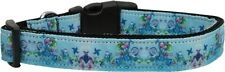 "Dreamy Blue Nylon Dog Collar 1"" Wide Fits Neck Size 10-26"""