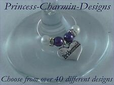 A38T Cadbury Top Table Heart Wedding Wine Glass Charms / Favours / Decorations