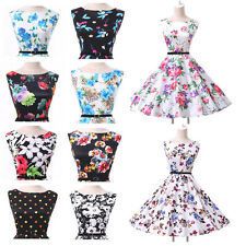 ELEGANT AUDREY HEPBURN VINTAGE STYLE 50S 60S ROCKABILLY FLORAL SWING PARTY DRESS