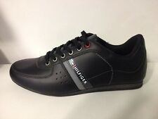 Tommy Hilfiger Mens Black Trainers Shoes Sneakers Leather, Ross 2A - New In Box