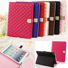 New PU Leather With Buckle Folio Stand Case Cover Quilted For iPad whole series