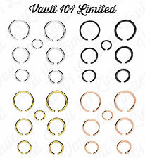 Fake Piercing Ring. Nose, Lip or Body Parts. SILVER or BLACK, Various Sizes.