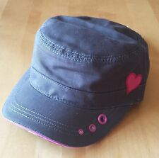 NEW MILITARY CADET STYLE HAT WOMENS GIRLS PUGS GEAR GRAY W/ PINK OR GREEN HEART