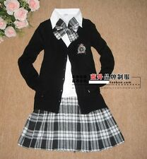 BJ581  LOLITA COSPLAY GOTHIC PLEATED SCHOOL GIRL UNIFORM SWEATER PANT CHECK DRES