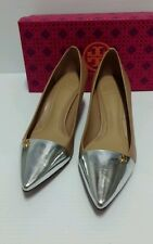 Tory Burch crawford honey wheat silver leather pump new 100% auth retail $295