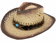 Kids Children's Western Cowboy Straw Hat Beach Sun Cap with Beaded Headband