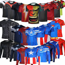 Mens Marvel Comics Superhero T-Shirt Costume Jersey Tee Running Rider Shirts Top
