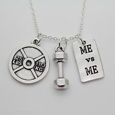 Dumbbell 25lb weight Me vs Me Weightlifting necklace,Exercise,Gym,Crossfit,squat