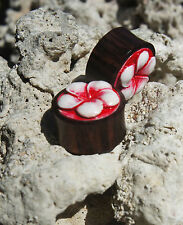"Bone Inlay Ebony Wood Floral Ear Plug Gauges Hand Carved Crafted 0g - 1"" New USA"
