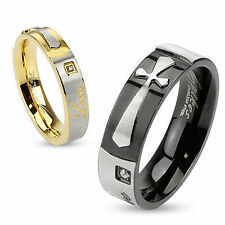 """(R-M2958/358) Stainless Steel Single CZ Between Engraved """"Love"""" and Cross Ring"""