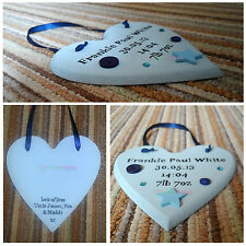 Personalised Wooden CHRISTENING BIRTH Plaque. BOY/GIRL Heart Shape