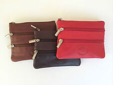 BROWN LEATHER ZIP AROUND COIN PURSE WALLET KEY CASE KEY POUCH CREDIT CARD HOLDER