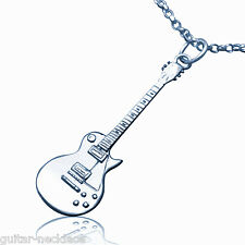 Sterling Silver Gibson Les Paul miniature Electric Guitar Pendant Necklace Chain