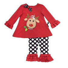2014 Christmas Baby Girls Kids Long Sleeve Shirt Clothes Polka Dot Pants Outfits