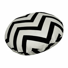 le01n Black Off White Zig Zag Cotton Canvas Round Cushion Cover/Pillow Case