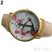 Women's Chic Perfect Faux Leather Floral Printed Anchor Quartz Dress Wrist Watch
