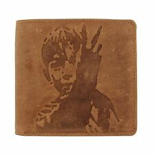 "Mens Leather Wallet Mustard Tan Brown Bi-Fold From The Movie ""Kes"" (New In Box)"