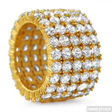 18k Gold Finish Mens 5 Row CZ Cubic Zirconia Iced Out 360 Ring