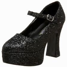 "Funtasma 4"" Black Glitter Chunky Heel Mary Jane 1"" Platform Pump MAR50G/B"