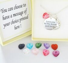 Love you to the moon and back,Sentiment Necklace, MOON & COLOUR HEART,Xmas,b'day