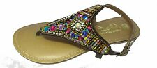 NEW Ladies BROWN  LEATHER Bejeweled Toe-Post 22561 Sandals