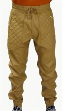 New Mens Wheat/Tan PU Faux Leather Joggers Quilted Zipper Pockets w/ Drawstring