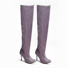 New Fashion Women Over Knee Faux Suede Long Thigh Stretchy Thigh High Heels